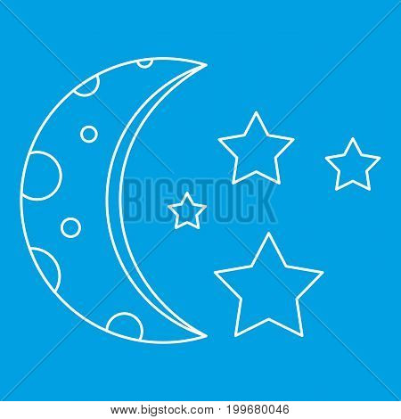 Moon and stars icon blue outline style isolated vector illustration. Thin line sign