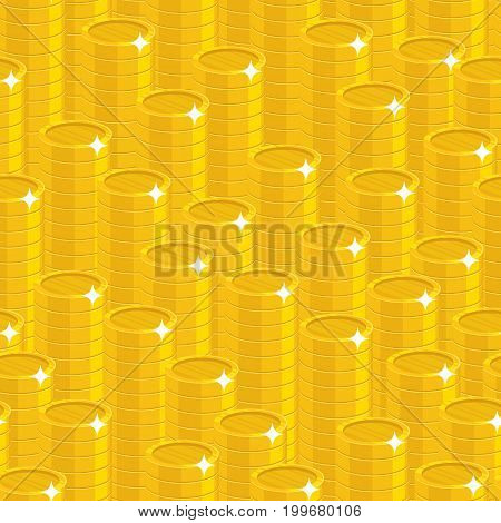 Piles gold coins style seamless pattern. Background of piles gold coins as a pattern for designers and illustrators. Cover of gold pieces in the form of vector illustration
