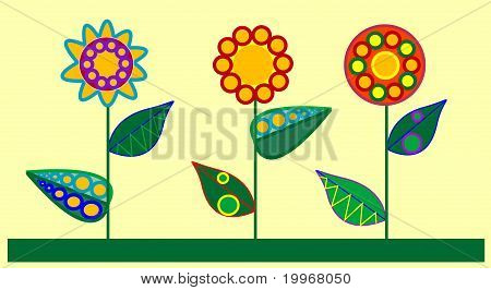 Three decorativ flowers