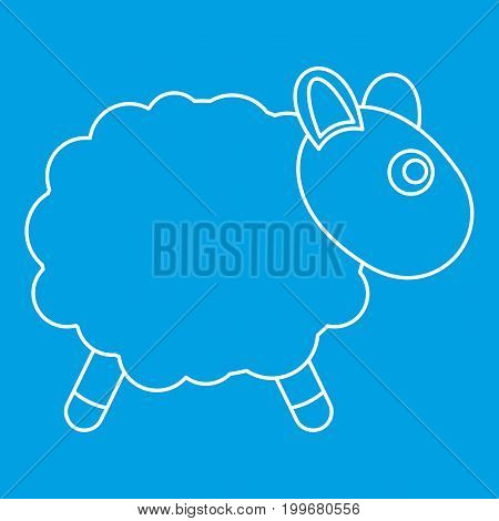 Sheep toy icon blue outline style isolated vector illustration. Thin line sign