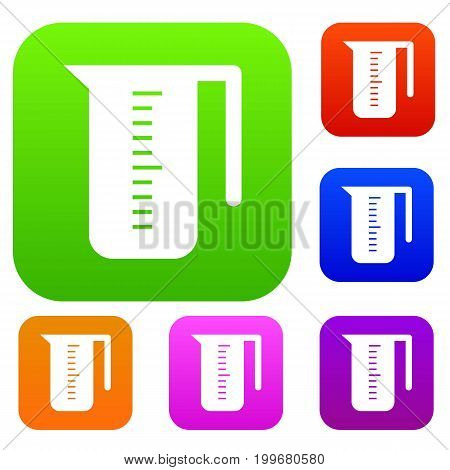 Measuring cup set icon in different colors isolated vector illustration. Premium collection