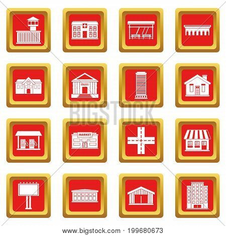 City infrastructure items icons set in red color isolated vector illustration for web and any design