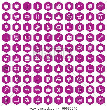 100 apple icons set in violet hexagon isolated vector illustration