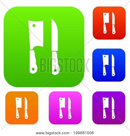 Kitchen knife and meat knife set icon in different colors isolated vector illustration. Premium collection