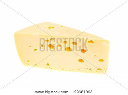 Piece of hard cheese on white background. Studio Photo