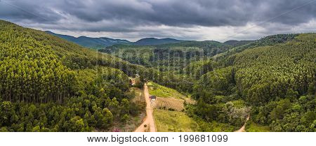 Drone Aerial View Panorama From Forest Landscape At Monte Verde, Minas Gerais, Brazil.