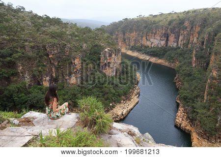 Beautiful Girl At The Top Of Furnas Canyon - Capitolio - Minas Gerais - Brazil