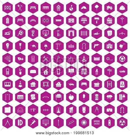 100 architecture icons set in violet hexagon isolated vector illustration