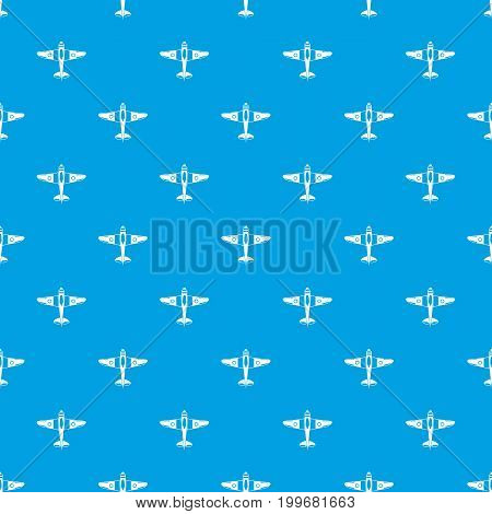 Military fighter plane pattern repeat seamless in blue color for any design. Vector geometric illustration