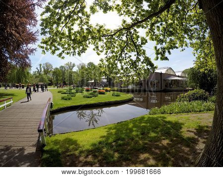 KEUKENHOF HOLLAND - MAY 14 2017: Pavilion of the King of the Netherlands Willem-Alexander in the Royal Keukenhof Park