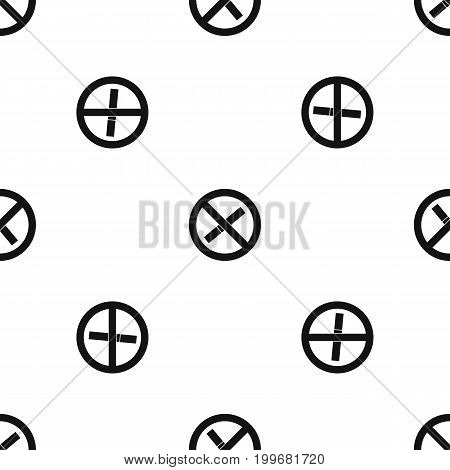 Sign prohibiting smoking pattern repeat seamless in black color for any design. Vector geometric illustration