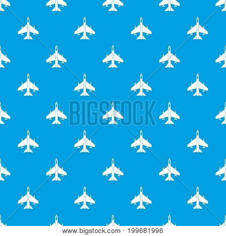 Armed fighter jet pattern repeat seamless in blue color for any design. Vector geometric illustration