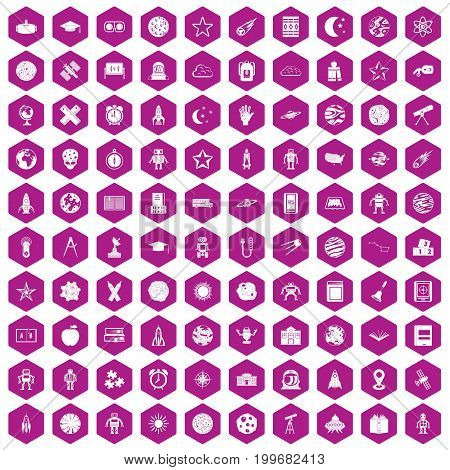 100 astronomy icons set in violet hexagon isolated vector illustration