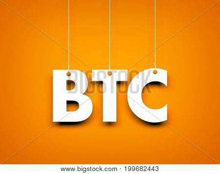 Word BTC - text hanging on the rope. 3d illustration