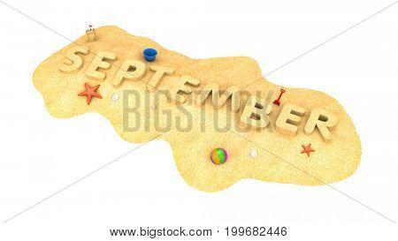September - word from sand. 3d illustration