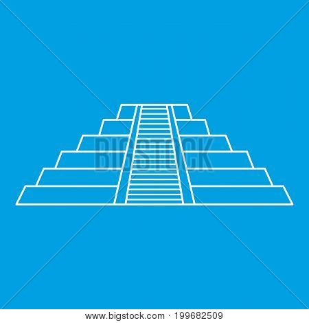 Chichen Itza Maya ruins , Mexico icon blue outline style isolated vector illustration. Thin line sign