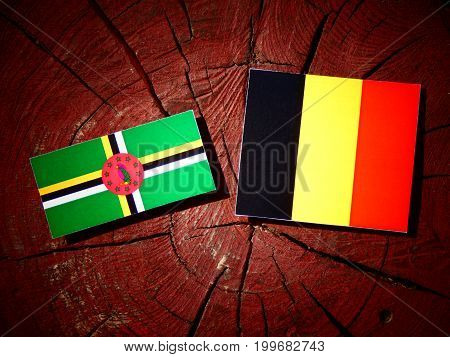 Dominica Flag With Belgian Flag On A Tree Stump Isolated