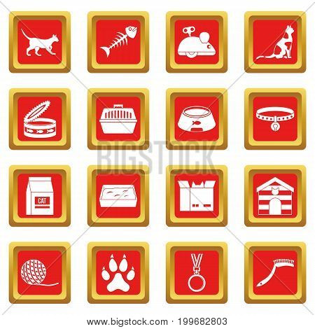 Cat care tools icons set in red color isolated vector illustration for web and any design