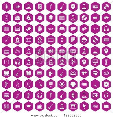 100 audience icons set in violet hexagon isolated vector illustration