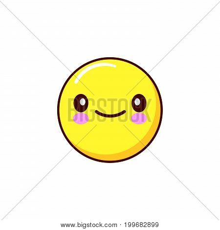 smiling emoticon icon kawaii. Flat design Vector Illustration