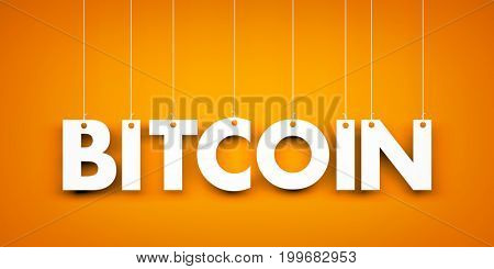 Word Bitcoin - text hanging on the rope. 3d illustration