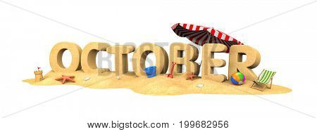 October - word from sand. Seasonal specific. 3d illustration