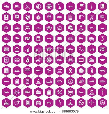 100 auto icons set in violet hexagon isolated vector illustration