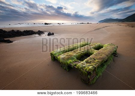 Overgrown with algae wooden Pallet on the beautiful sand beach near Noja Spain as a symbol of Human's presence anywhere :(