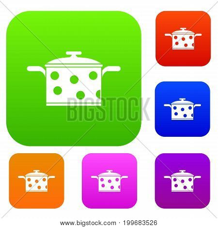 Saucepan with white dots set icon in different colors isolated vector illustration. Premium collection