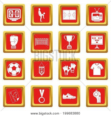 Soccer football icons set in red color isolated vector illustration for web and any design