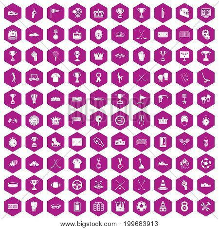 100 awards icons set in violet hexagon isolated vector illustration