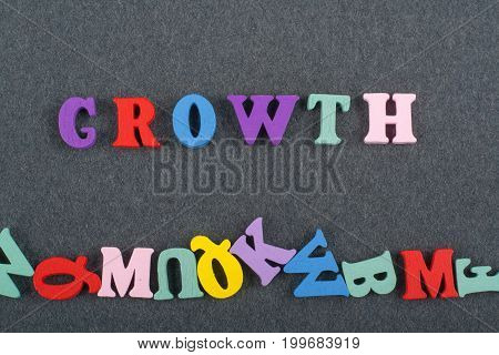 word on black board background composed from colorful abc alphabet block wooden letters, copy space for ad text. Learning english concept