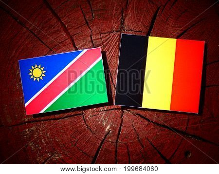 Namibian Flag With Belgian Flag On A Tree Stump Isolated