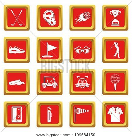 Golf items icons set in red color isolated vector illustration for web and any design