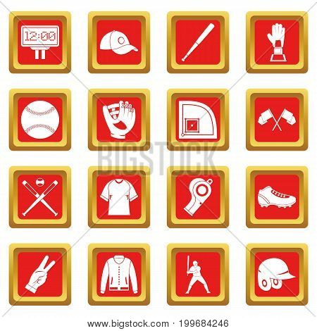 Baseball icons set in red color isolated vector illustration for web and any design