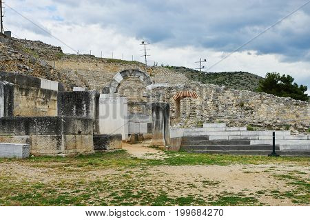 Ruins of the ancient Filippi. The city founded in the fourth century BC by Philip II of Macedon, then the Roman colony. With the fall of  Byzantium it was completely destroyed and abandoned. St. Paul founded here the first Christian community on the conti