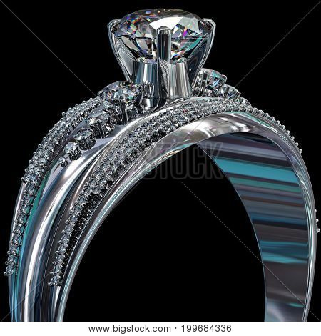 Silver band for engagement with gem for female Cropped of diamond luxury jewellery bijouterie ring from white gold or platinum with gemstone. 3D rendering on black background New collection of jewelry
