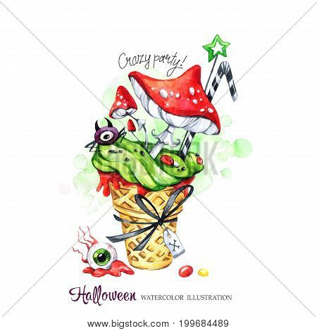 Watercolor illustration. Halloween holiday card. Hand painted waffle cone, Amanitas with poisonous cream and spider. Funny ice cream dessert. Poisonous treat. Magic, symbol of horror. Ready for print.