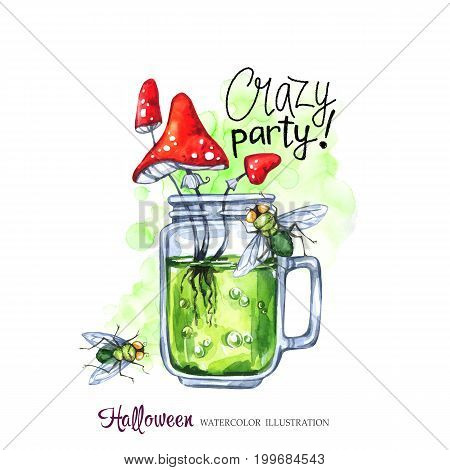 Watercolor illustration. Halloween holidays card. Hand painted glass cup with potion, amanitas and flies. Funny coctail. Poisonous drink. Magic, symbol of horror. Ready for print.