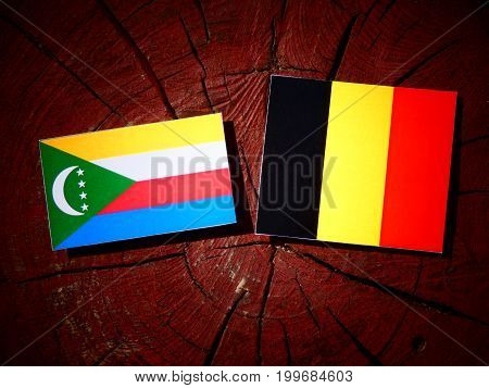 Comoros Flag With Belgian Flag On A Tree Stump Isolated
