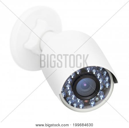 CCTV security camera, closeup photo, isolated object on white