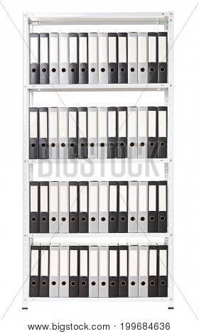 Shelving with folders for documents, business, accounting and taxes. Isolated object