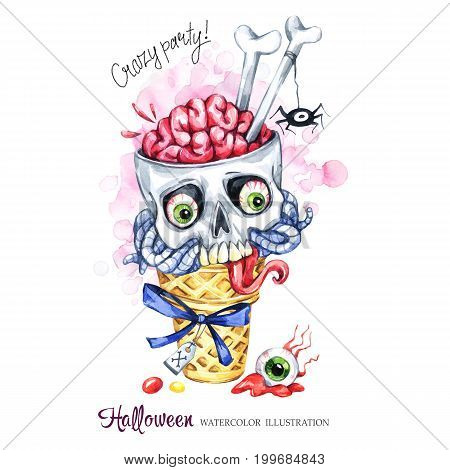 Watercolor illustration. Halloween holidays card. Hand painted waffle cone, skull with brains and worms. Funny ice cream dessert. Poisonous treat. Magic, symbol of horror. Ready for print.