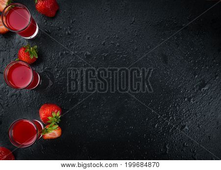 Some homemade Strawberry liqueur as detailed close-up shot selective focus