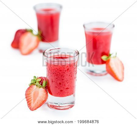 Strawberry Liqueur Isolated On White Background