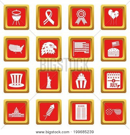 Independence day flag icons set in red color isolated vector illustration for web and any design
