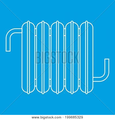 Iron central heating battery icon blue outline style isolated vector illustration. Thin line sign