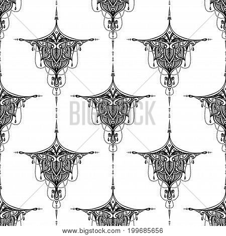 Abstract seamless pattern by decorative element black on white for textile or perfume or for decorate gift paper  or for package