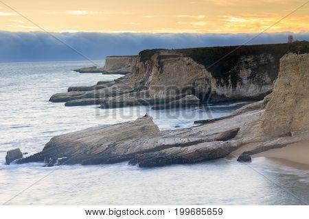 Panther Beach and Pacific Ocean Coastline. Davenport, Santa Cruz County, California, USA. Davenport, Santa Cruz County, California, USA.