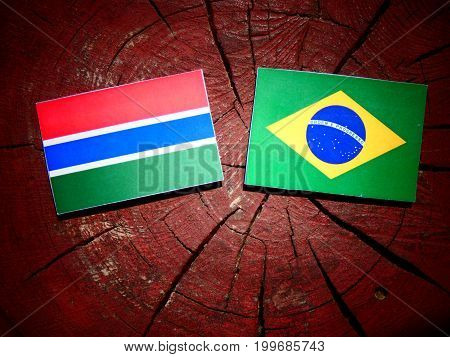 Gambian Flag With Brazilian Flag On A Tree Stump Isolated